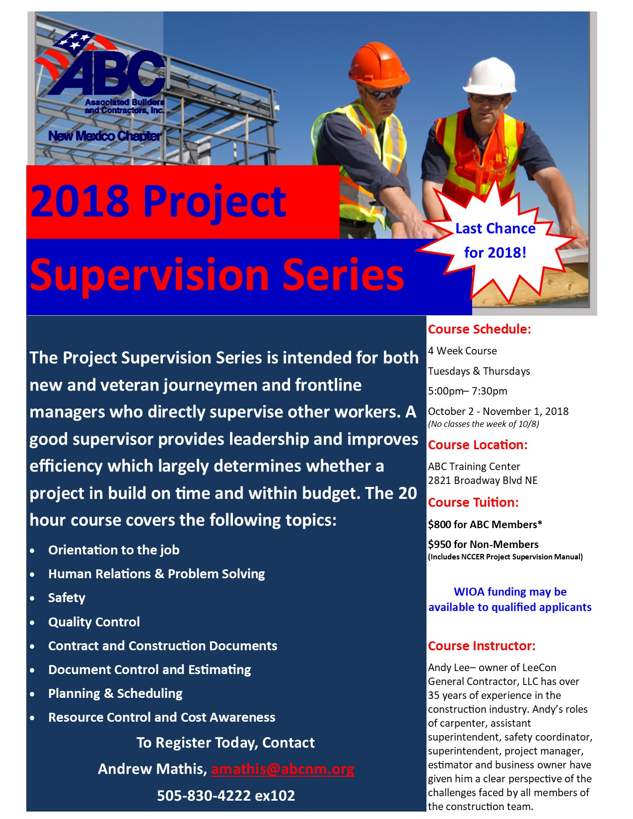 Project Supervision Series Registration October 2018